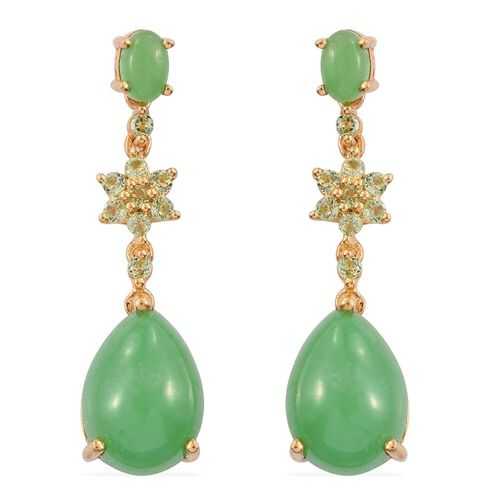 Green Jade (Pear), Hebei Peridot Earrings (with Push Back) in 14K Gold Overlay Sterling Silver 14.750 Ct.