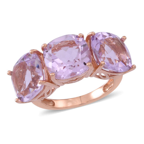 Rose De France Amethyst (Cush) Trilogy Ring in 14K Rose Gold Overlay Sterling Silver 10.000 Ct.