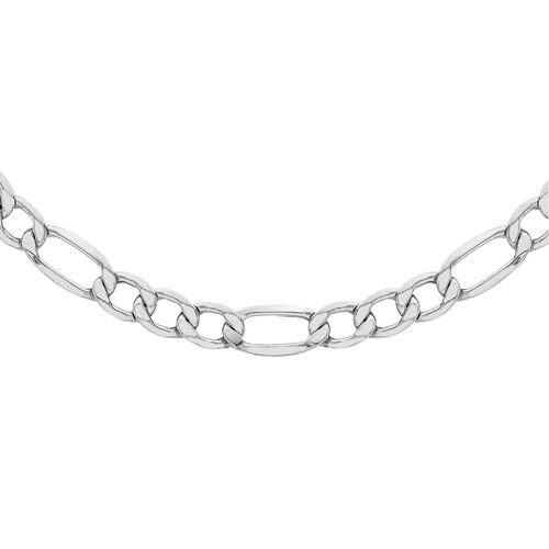 JCK Vegas Collection Silver Figaro Necklace with Rhodium Plating (Size 22), Silver wt 34.00 Gms.