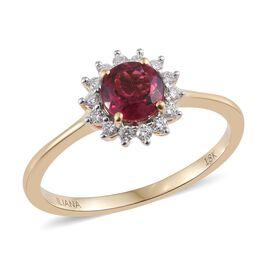 ILIANA 18K Yellow Gold AAA Ouro Fino Rubelite (Rnd), Diamond (SI/G-H) Halo Ring 1.000 Ct.