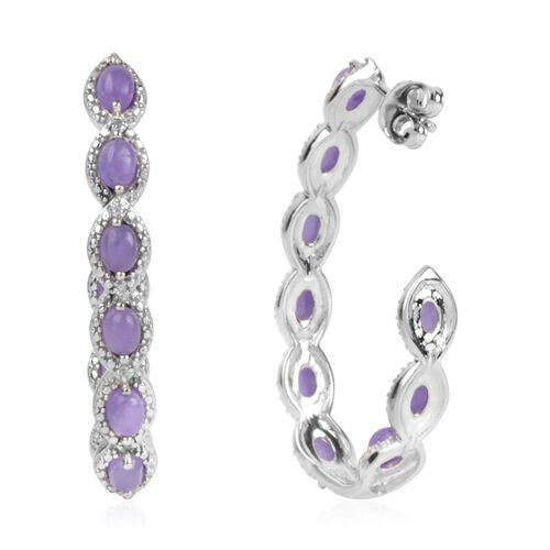 Purple Jade and Natural Cambodian Zircon J Hoop Earrings (with Push Back) in Platinum Overlay Sterling Silver 3.725 Ct. Silver wt 8.00 Gms.