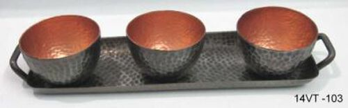 Home Decor Set Of 3 - Bowl Tea Light Holder with Tray