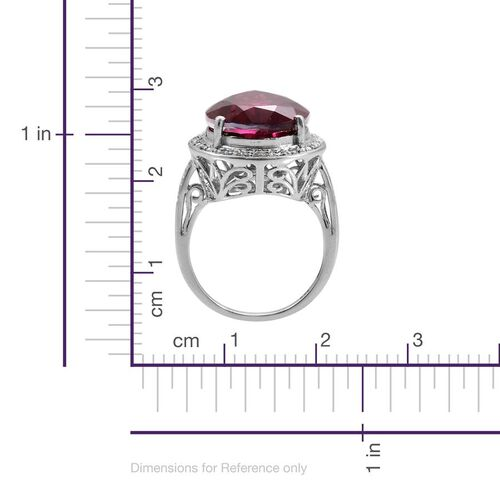 Rubelite Colour Quartz (Pear 14.50 Ct), Diamond Ring in Platinum Overlay Sterling Silver 14.600 Ct.