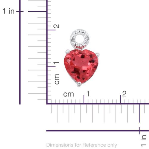 Padparadscha Quartz (Hrt 3.50 Ct), Diamond Pendant in Sterling Silver 3.510 Ct.