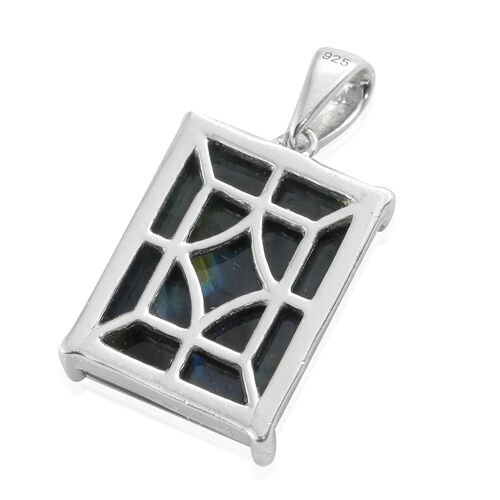 Natural Spectrolite (Bgt) Solitaire Pendant in Platinum Overlay Sterling Silver 6.000 Ct.