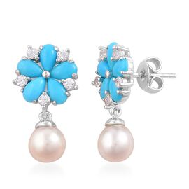 Japanese Akoya Pearl (Rnd 6-7mm), Arizona Sleeping Beauty Turquoise and White Zircon Earrings (with Push Back) in Rhodium Plated Sterling Silver 6.500 Ct.