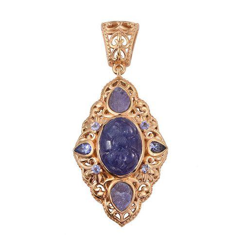 Designer Inspired Lazer Cut Tanzanite (Ovl 8.75 Ct), Burmese Ruby Pendant in 14K Gold Overlay Sterling Silver 11.500 Ct.
