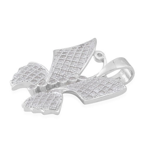 ELANZA AAA Simulated White Diamond (Rnd) Butterfly Pendant in Rhodium Plated Sterling Silver. MicroPave Setting