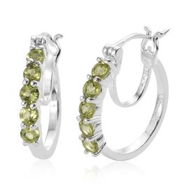One Time Close Out Deal- Hebei Peridot (Rnd) Hoop Earrings (with Clasp Lock) in Sterling Silver 1.250 Ct.