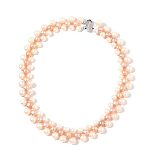 Fresh Water White, Purple and Peach Pearl Necklace (Size 17) in Rhodium Plated Sterling Silver
