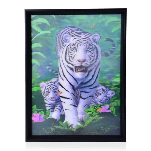 Wall Decor - Tigers Framed 4D Wall Painting (Size 41x31.15x2 Cm)