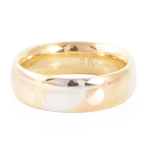 Limited Edition - Luxury Heavy Weight Tri Coloured Royal Bali Collection 9K Gold Band Ring
