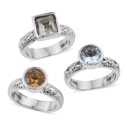 Set of 3 - Green Amethyst (Sqr), Sky Blue Topaz and Citrine Solitaire Ring in ION Plated Stainless Steel 4.250 Ct.