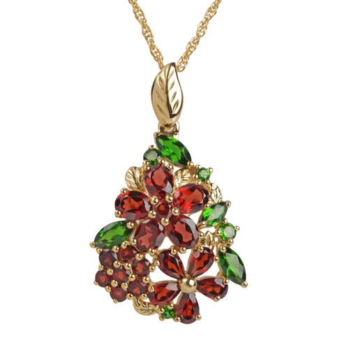 Mozambique Garnet and Russian Diopside Multi Floral Pendant with Chain in Gold Plated Silver