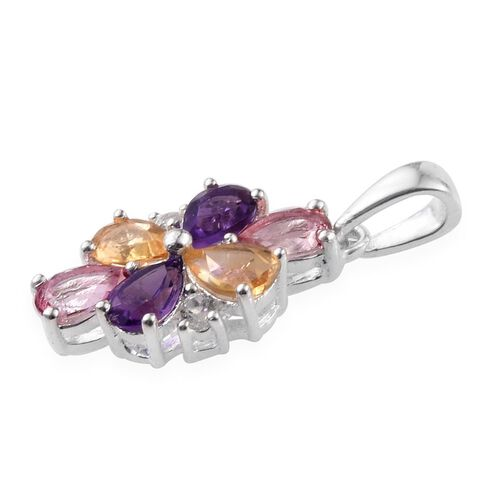 (Option 3) Signity Pink Topaz (Pear), Amethyst, Citrine and White Topaz Pendant in Sterling Silver 2.500 Ct.