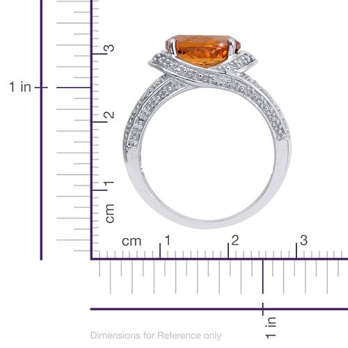 Madeira Citrine (Ovl 3.25 Ct), Diamond Ring in Platinum Overlay Sterling Silver 3.350 Ct.