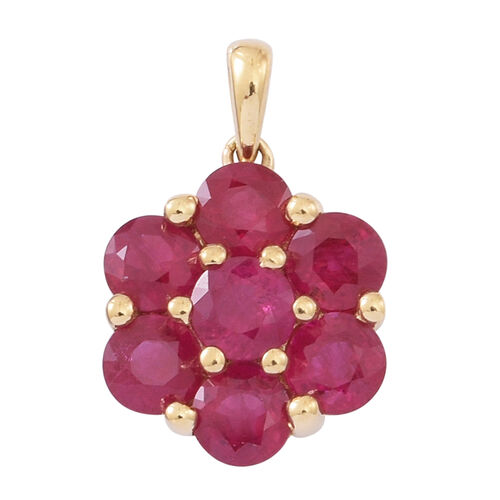 Limited Edition-ILIANA 18K Y Gold AAAA Burmese Ruby (Rnd) 7 Stone Floral Pendant 2.750 Ct.