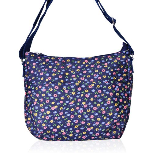 Navy and Multi Colour Floral Pattern Crossbody Bag with Adjustable Shoulder Strap (Size 33X26X12 Cm)
