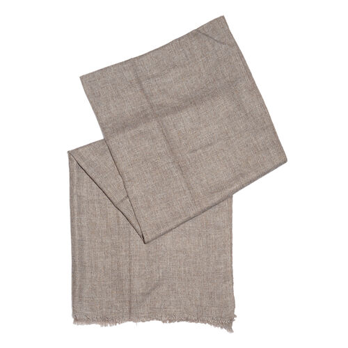 Italian Designer Cashmere Wool Blend Brown Scarf (Size 200X65 Cm)