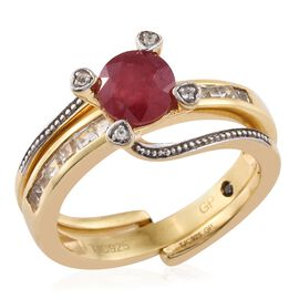 GP African Ruby (Rnd 1.62 Ct), White Topaz and Kanchanaburi Blue Sapphire 2 Ring Set in 14K Gold Overlay Sterling Silver 2.500 Ct.