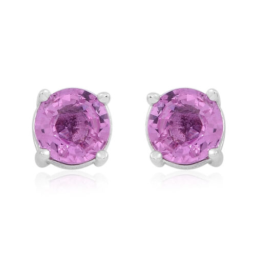 ILIANA 18K White Gold Pink Sapphire (Rnd) Stud Earrings (with Screw Back) 1.000 Ct.
