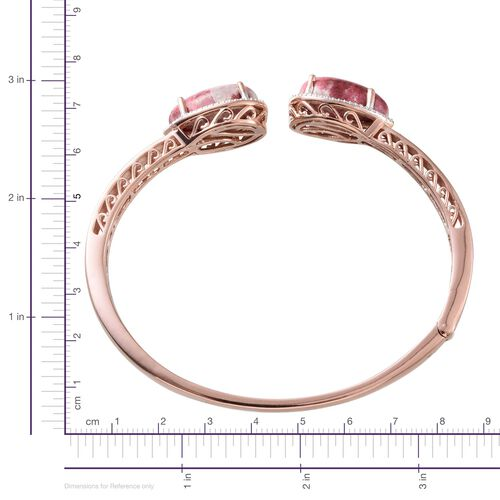 Norwegian Thulite (Pear), Diamond Open Bangle (Size 7.5) in Rose Gold Sterling Silver 25.050 Ct.