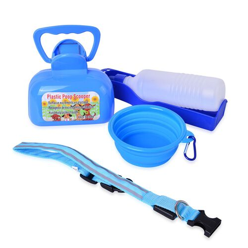 Pet Accessories - Blue Colour Poop Scooper, Squeeze Water Bottle, Silica Bowl and Dog Neck LED Strap with Buckle