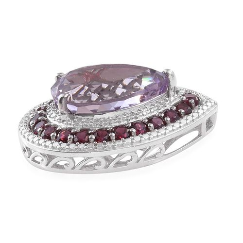 AAA Rose De France Amethyst (Pear 7.50 Ct), AAA Rhodolite Garnet Pendant in Platinum Overlay Sterling Silver 9.500 Ct.
