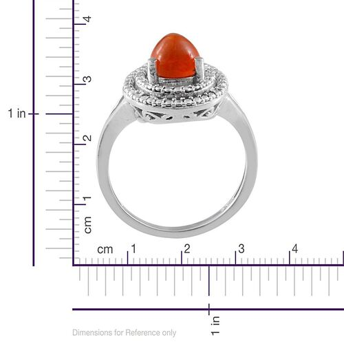 Orange Ethiopian Opal (Pear), Diamond Ring and Pendant With Chain in Platinum Overlay Sterling Silver 1.920 Ct.
