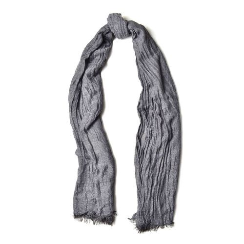 Dark Grey Colour Scarf (Size 200X62 Cm) with Black and Grey Colour Hat