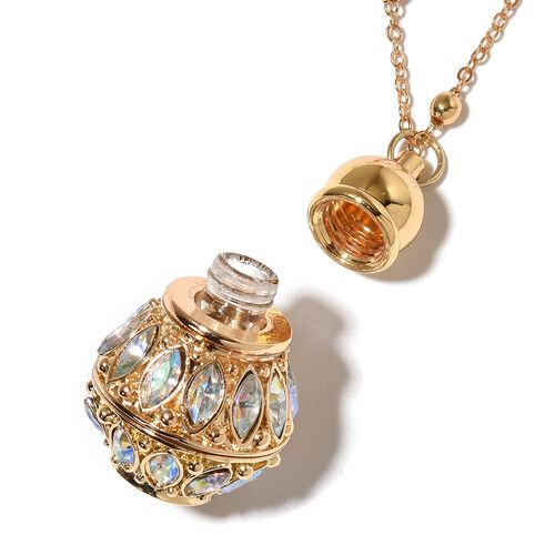 Turkish Style Perfume Bottle Magic Colour Austrian Crystal Necklace (Size 27) in Yellow Gold Tone