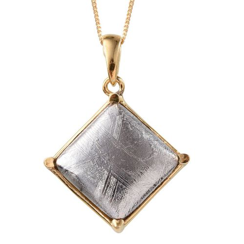 Meteorite (Sqr) Pendant With Chain in 14K Gold Overlay Sterling Silver 18.500 Ct.