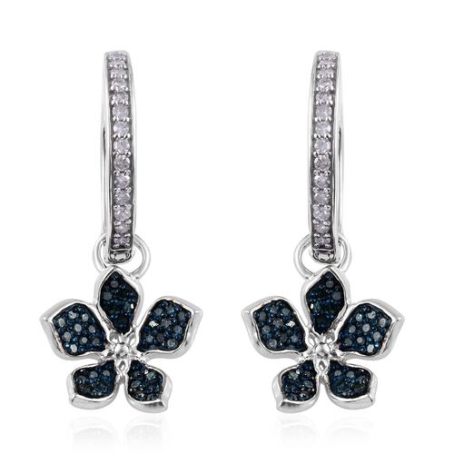 Kimberley Forget Me Not Collection - Blue Diamond (Rnd), White Diamond Floral Hoop Earrings in Platinum Overlay Sterling Silver 0.75 Ct