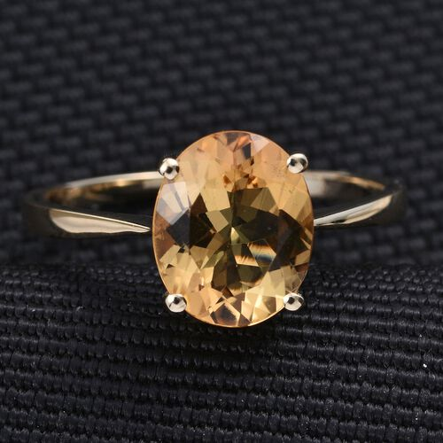 9K Y Gold AAA Marialite (Ovl) Solitaire Ring 3.000 Ct.