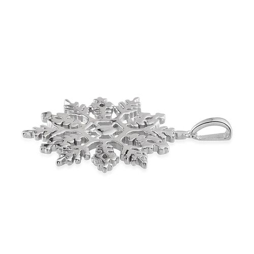 Platinum Overlay Sterling Silver Snowflake Pendant, Silver wt 7.03 Gms.