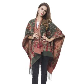 Designer Inspired- Olive Green, Red and Khaki Colour Paisley Pattern Reversible Kimono with Tassels (Size 127X75 Cm)