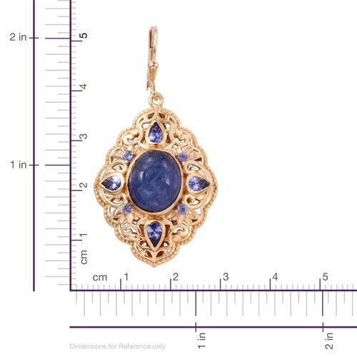 Royal Jaipur Tanzanite (Ovl), Burmese Ruby Lever Back Earrings in 14K Gold Overlay Sterling Silver 13.500 Ct.