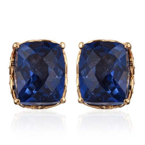 Checkerboard Cut Ceylon Colour Quartz (Cush) Stud Earrings (with Push Back) in 14K Gold Overlay Sterling Silver 6.000 Ct.