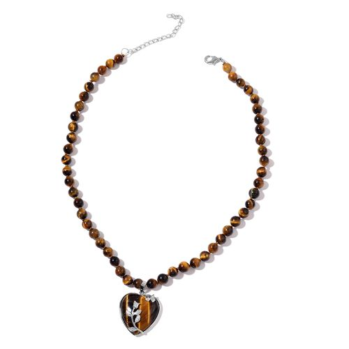 Tigers Eye Heart Necklace (Size 20 with 2 inch Extender) in Silver Tone 266.000 Ct.