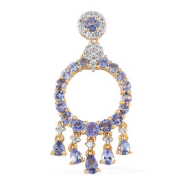 AA Tanzanite (Rnd), Natural Cambodian Zircon Circle Pendant in 14K Gold Overlay Sterling Silver 2.810 Ct.