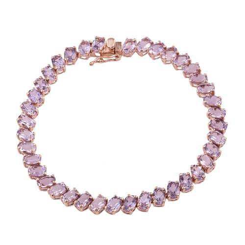 Rose De France Amethyst (Ovl) Bracelet (Size 7.5) in Rose Gold Overlay Sterling Silver 15.000 Ct.