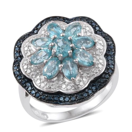 Paraiba Apatite (Ovl), Blue and White Diamond Floral Ring in Platinum Overlay Sterling Silver 2.500 Ct.
