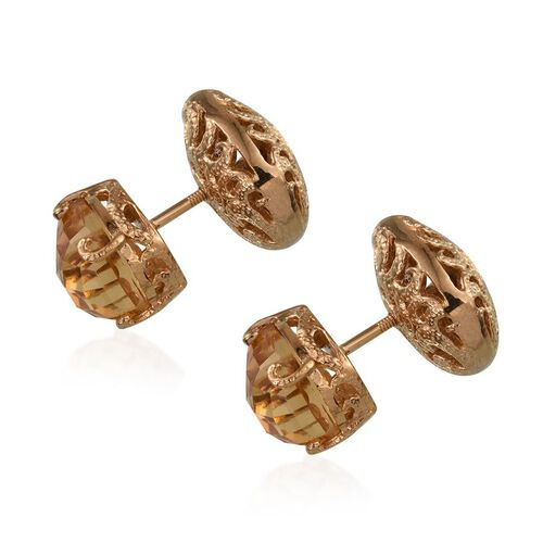 GP Citrine (Pear), Kanchanaburi Blue Sapphire Stud Earrings in 14K Gold Overlay Sterling Silver 7.500 Ct.