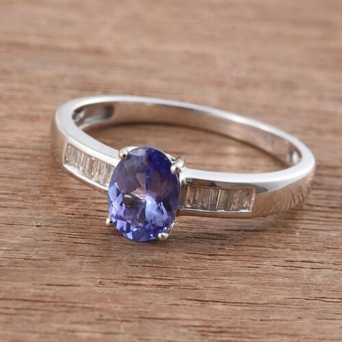 9K W Gold Tanzanite (Ovl 1.15 Ct), Diamond Ring 1.250 Ct.