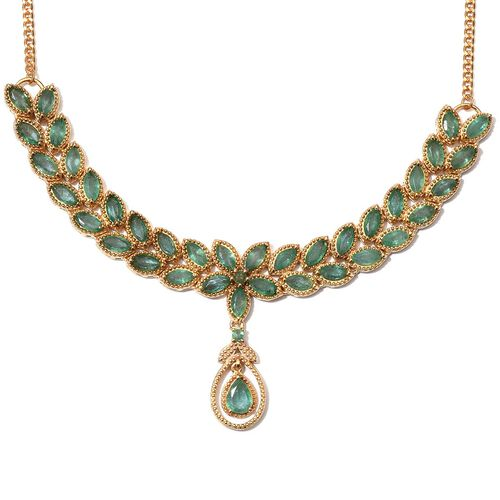 Kagem Zambian Emerald (Pear 0.60 Ct) Necklace (Size 18) in 14K Gold Overlay Sterling Silver 7.500 Ct.