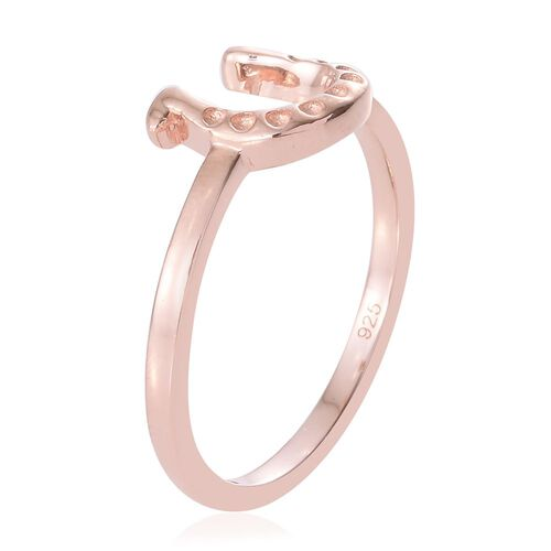 Silver Horseshoe Ring in Rose Gold Overlay
