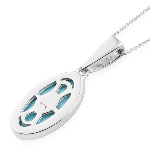 Arizona Sleeping Beauty Turquoise (Ovl) Solitaire Pendant with Chain (Size 18) in Platinum Overlay Sterling Silver 2.000 Ct.