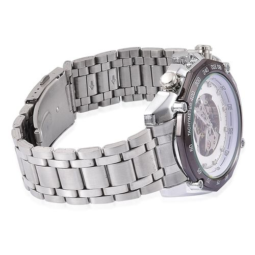 GENOA Automatic Skeleton Silver Tone Watch with Pink and White Austrian Crystal