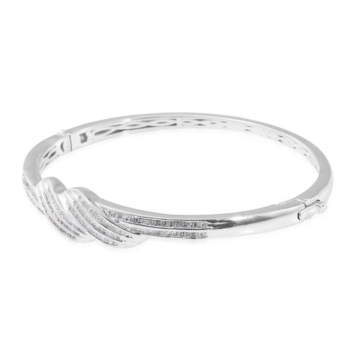 Designer Inspired Diamond Bangle (Size 7.5) in Platinum Overlay Sterling Silver 1.010 Ct. Silver wt 20.81 Gms.