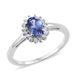 Tanzanite (Ovl), Diamond Ring in Platinum Overlay Sterling Silver 1.000 Ct.